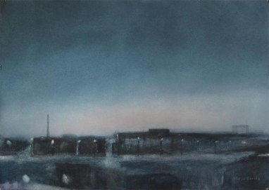 Aamu valkenee. 70x100cm. Vesiväri paperille.2006.