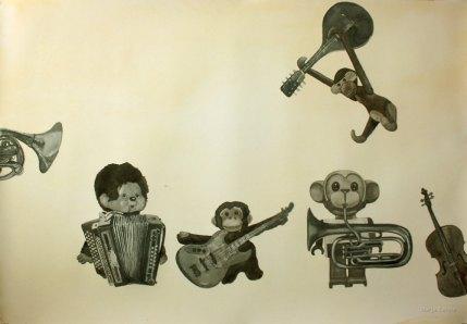 Apinaorkesteri. Vesiväri paperille, 70x100cm, 2010