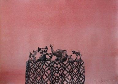 Asetelma. Vesiväri paperille, 70x100cm, 2009