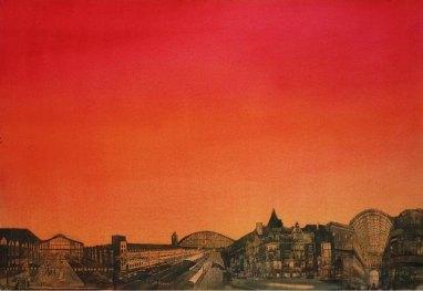 Helsinki-Pariisi. Vesiväri paperille. 70 x 100 cm. 2008. Yksityisomistuksessa.