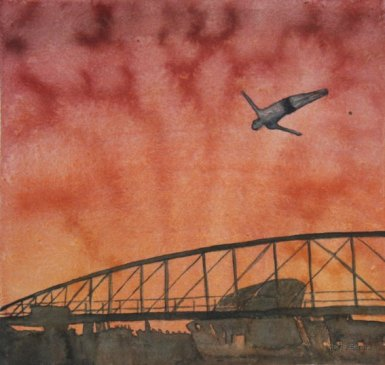 Hyppy. Vesiväri paperille, n.23x23cm, 2010. Hyvinkään taidemuseon kokoelmissa.