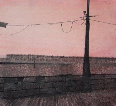 Ilta rannalla. 2009. n. 22 x x25 cm. Vesiväri ja muste paperille.