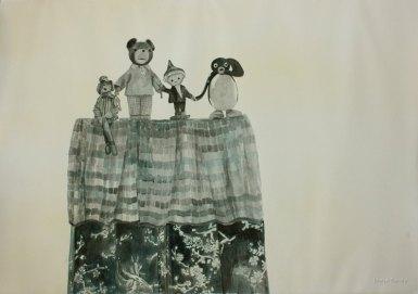 Jäähyväiset. Vesiväri paperille, 70x100cm, 2010