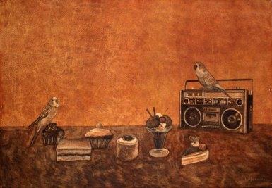 Kaikilla herkuilla. Vesiväri paperille, 70x100cm, 2010