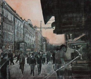 Katunäkymä. n. 23x23cm. Vesiväri ja muste paperille.2007.