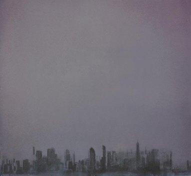 Kaupunki sumussa. 70x70cm. Vesiväri paperille.2006.