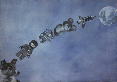 Kiertoradalla. Vesiväri paperille, 70x100cm, 2010