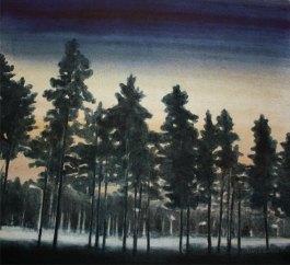 Kello 03:20. Vesiväri paperille, n.23x23cm, 2012. Hyvinkään taidemuseon kokoelmissa.