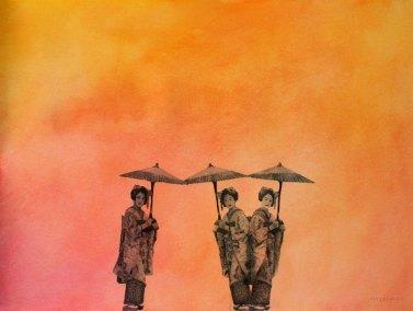 Kolme Geishaa. 2009. 70 x 100 cm. Vesiväri ja muste paperille.