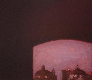 Näkymä ikkunasta. n. 23x23cm. Vesiväri ja muste paperille.2007.