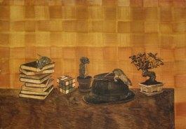 Pöydällä. Vesiväri paperille, 70x100cm, 2010