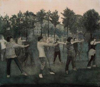 Puistojumppa. n. 22 x 25 cm. Vesiväri ja muste paperille. 2008.