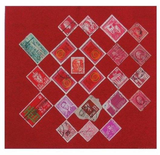 Punainen sommitelma. n. 22 x 25cm. Sekatekniikka paperille. 2006.