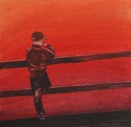 Punainen joki. Vesiväri paperille, n.23x23cm, 2010