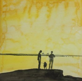 Retki saareen. Vesiväri paperille, n.23x23cm, 2011. Hyvinkään taidemuseon kokoelmissa.