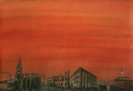 Ruosteenpunainen taivas. Vesiväri paperille, 70x100cm, 2011