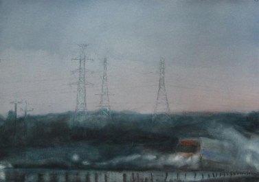 Sateinen aamu. 70x100cm. Vesiväri paperille.2006.