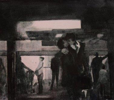 Suudelma. n. 23x23cm. Vesiväri ja muste paperille.2007. Yksityisomistuksessa.