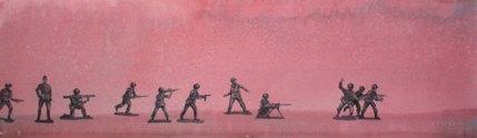 Tinasotilaat. Vesiväri paperille, 25x80cm, 2011. Yksityisomistuksessa.