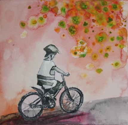 Uusi pyörä. Vesiväri paperille, n.23x23cm, 2010