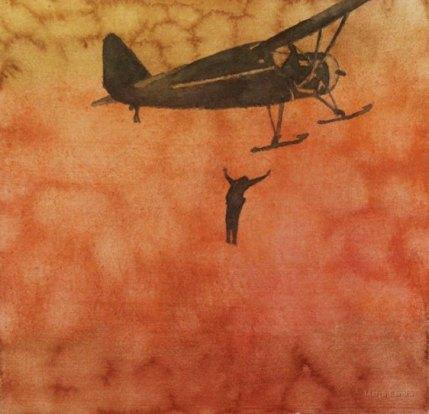 Vapaa pudotus. Vesiväri paperille, n.23x23cm, 2010
